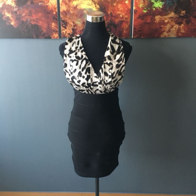 Animal print sexy dress body con