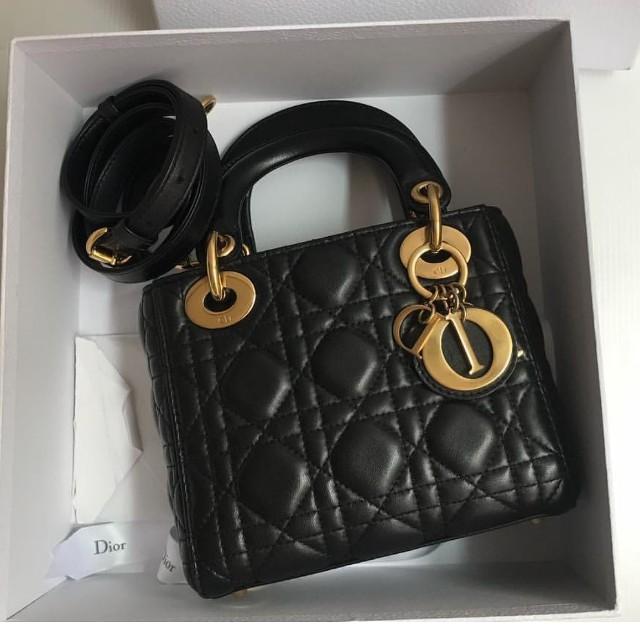 27951899cf0e Authentic Lady Dior Mini Black Ghw