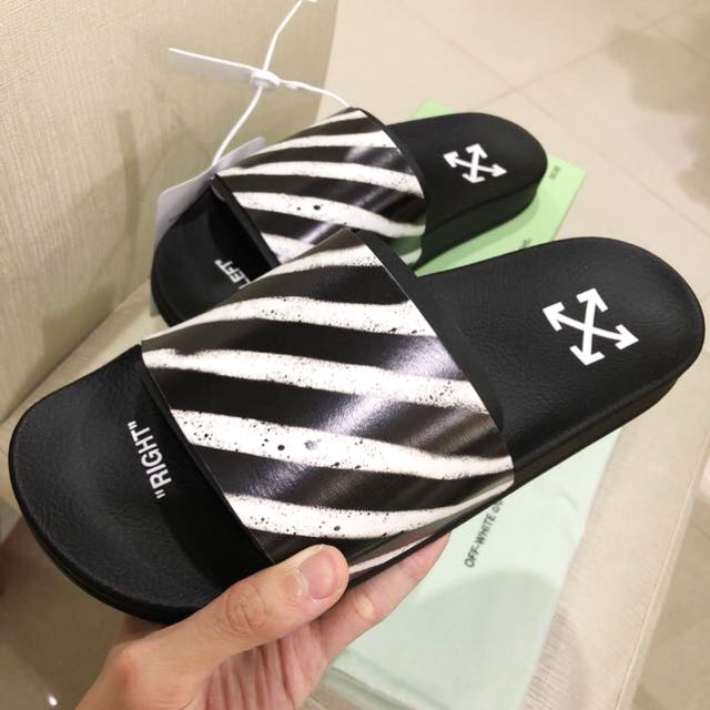 317ad33594 Authentic Off-White c o Virgil Abloh Spray Stripe Slides Sandals ...