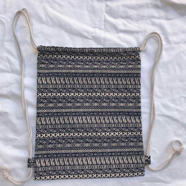 Aztec Canvas String Bag