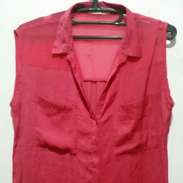 Bershka Hot Pink Sleeveless Top