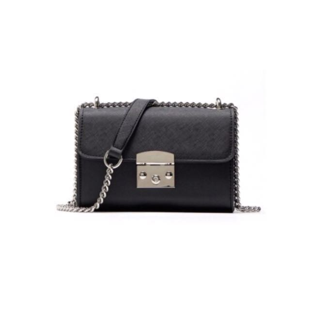 Bershka Lock Bag With Chain