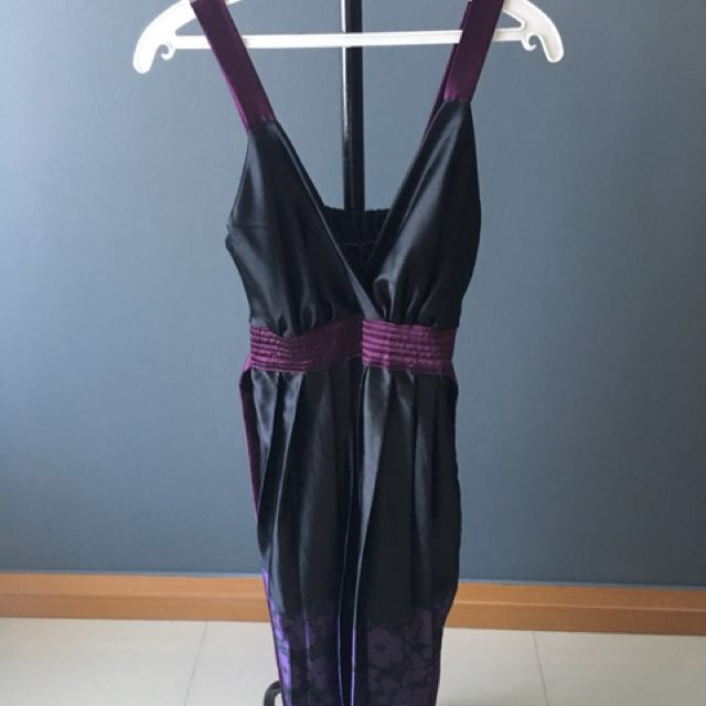 Black and purlple faux silk dress
