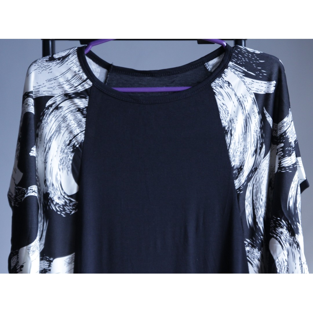 Black Batwing Dress with Abstract Patterns