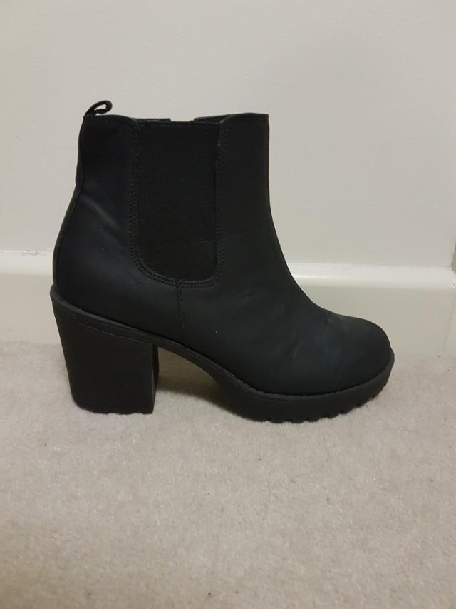 Black Heeled Biker Boots