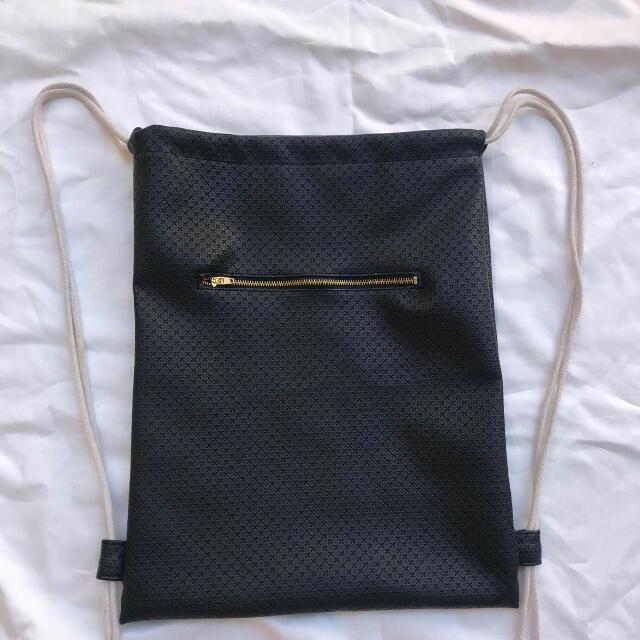 Black Leather String Bag