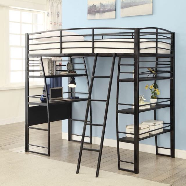 Black Twin Workstation Loft Bed