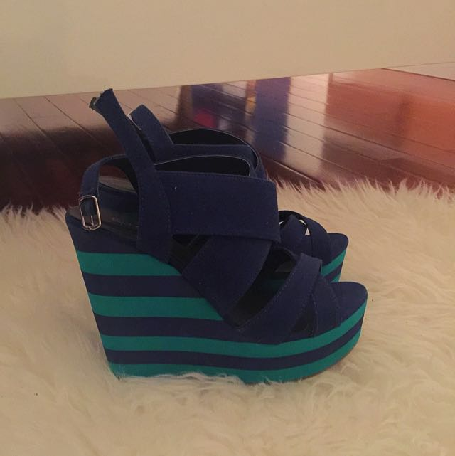 Blue & Green Mixed Wedge Sandal