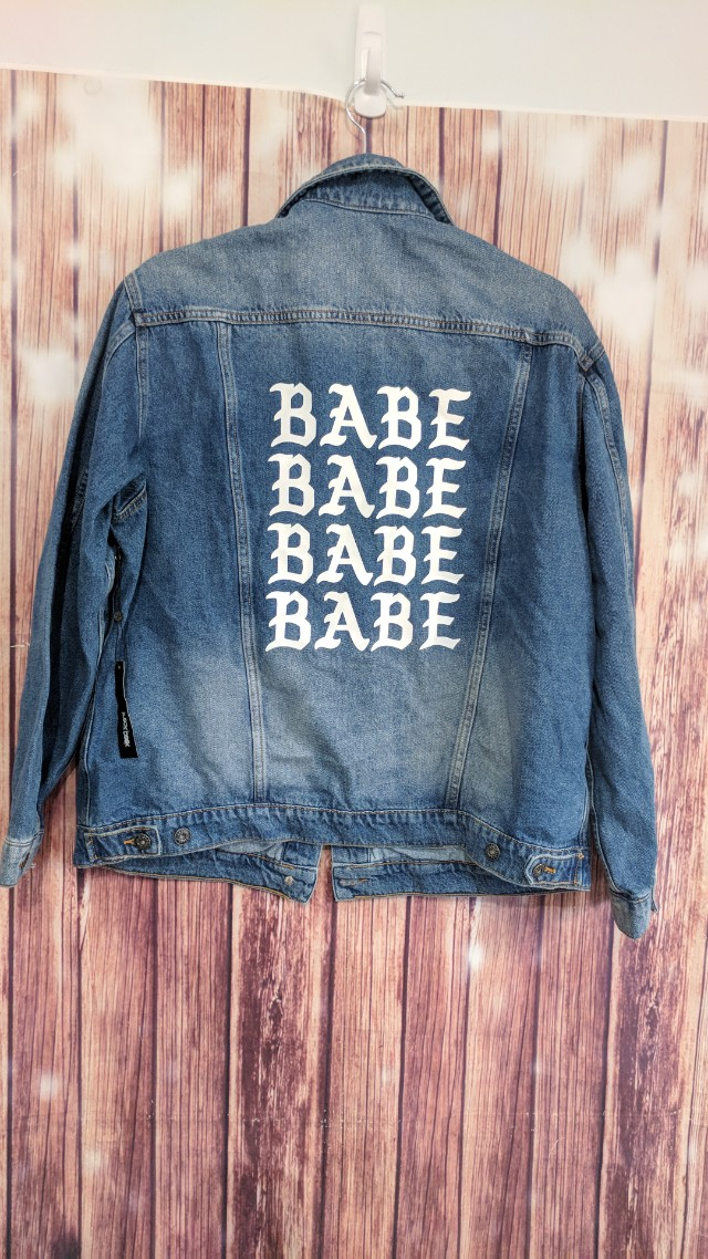Brand new with tags Denim jacket BABE on back