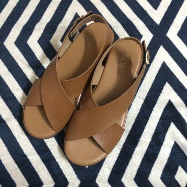 Brown Cross Strap Sandals