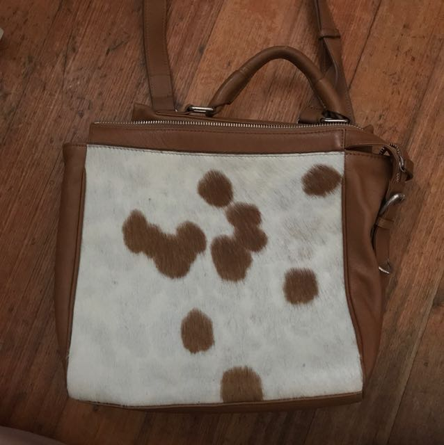 Brown leather/White pony hair handbag