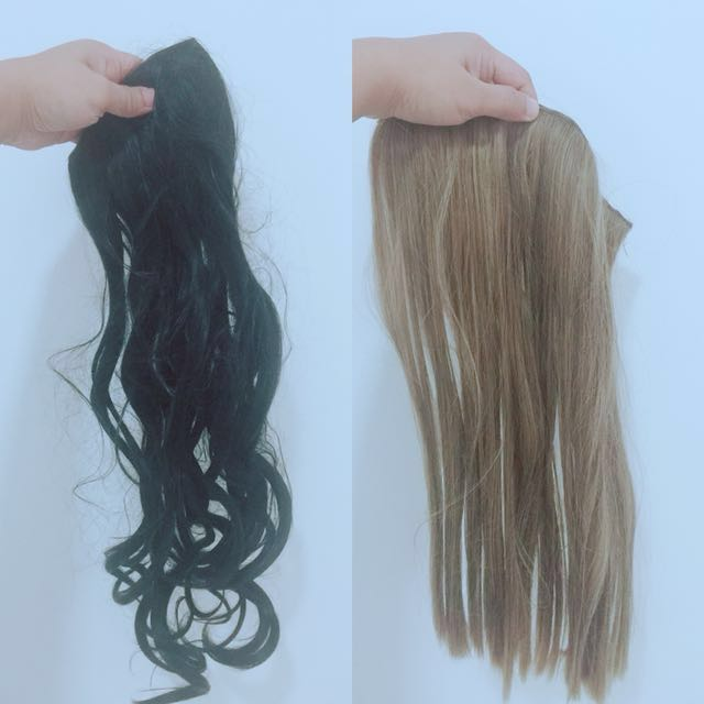 Buy 1 take 1 (curly) black and (straight) ash blonde hair extentions