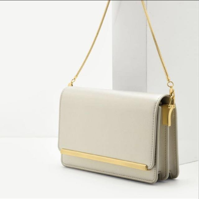 Charles & Keith Gold Metal Sling Clutch Bag