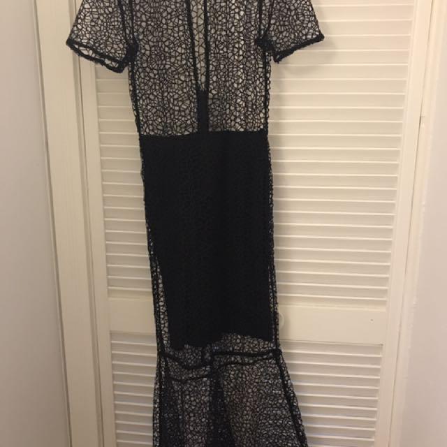 Classy Black lace detail dress/gown