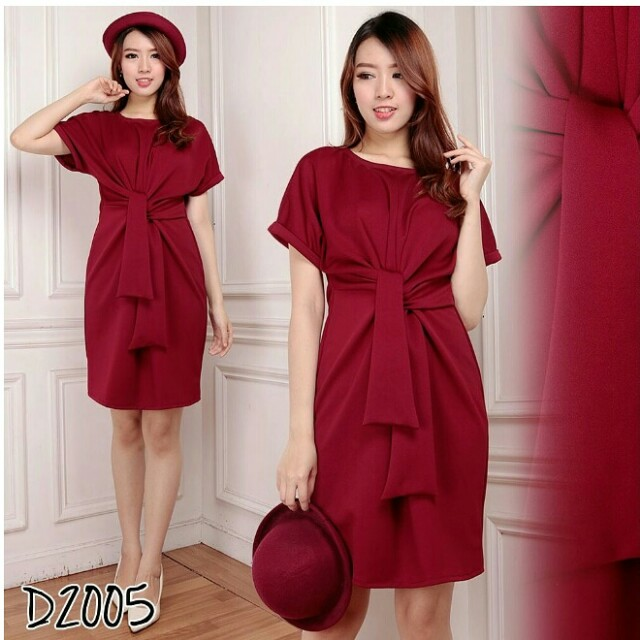 D2005 Front Knot Dress Merah Maroon