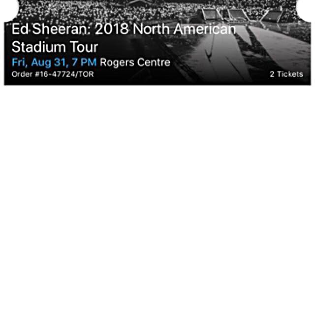 EdSheeran Concert Tickets: August 31st, 2018