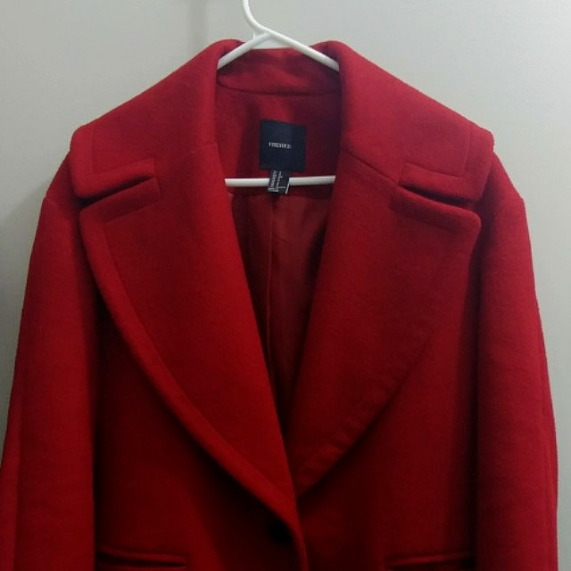 F21 Dark Red Coat