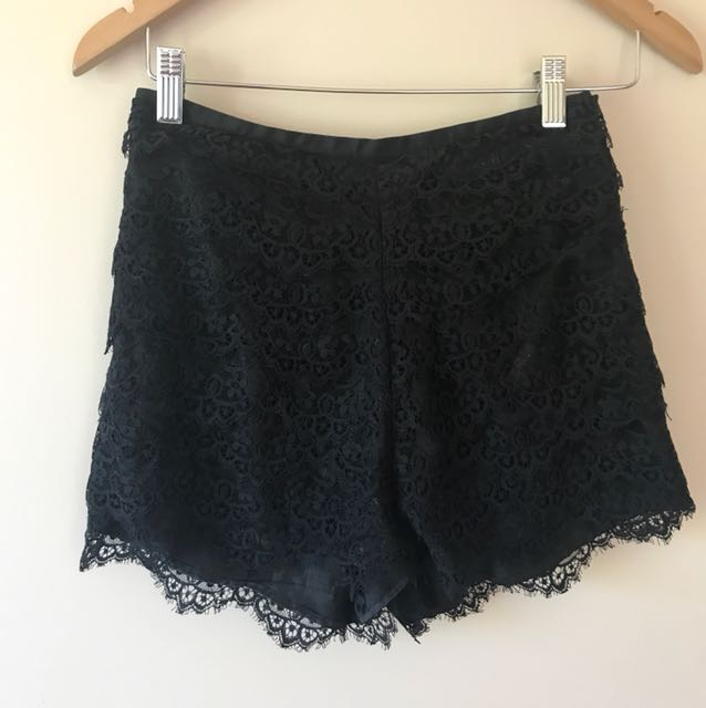 Finders Keepers High Waisted Lace Black Shorts