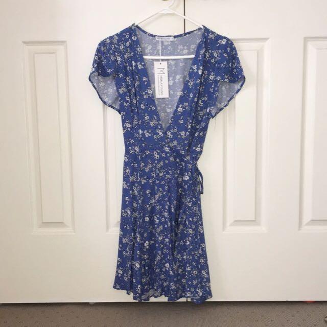 Floral wrap-style dress