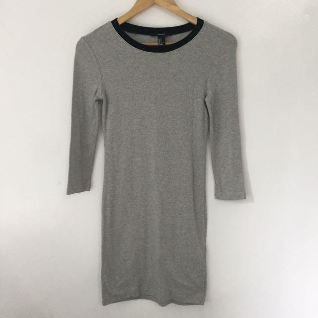 Forever 21 Gray Long Sleeved Body Fit Dress