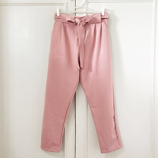Front-tie trousers in dusty rose