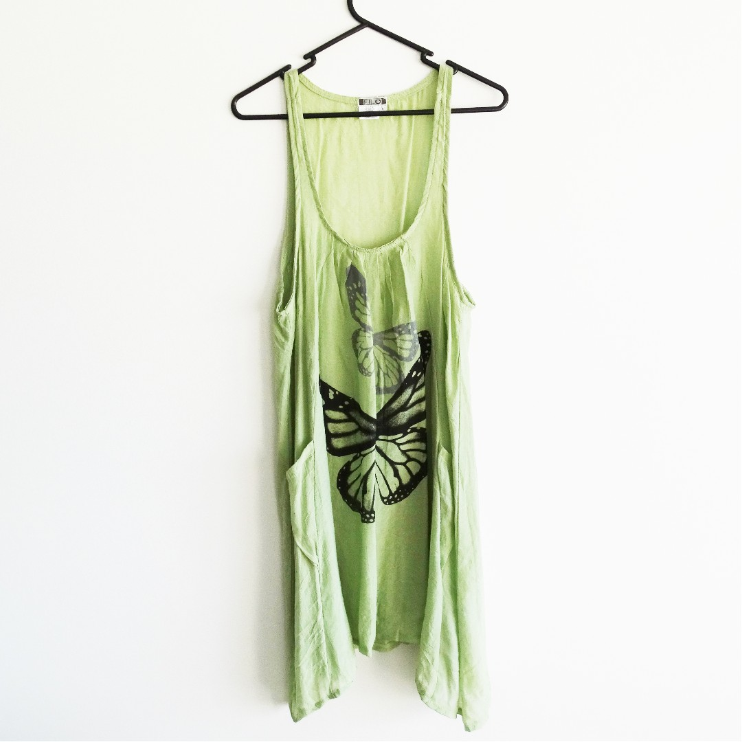 Green Boho Dress Open Size Butterfly