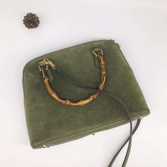 GUCCI古馳古董包 稀有麂皮綠色古董肩背斜背包 梯形水餃包