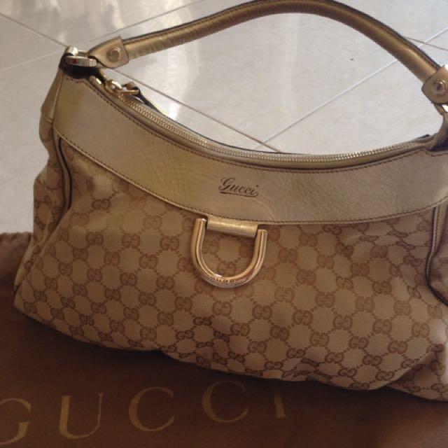 Gucci Canvas Gold D-Ring Bag