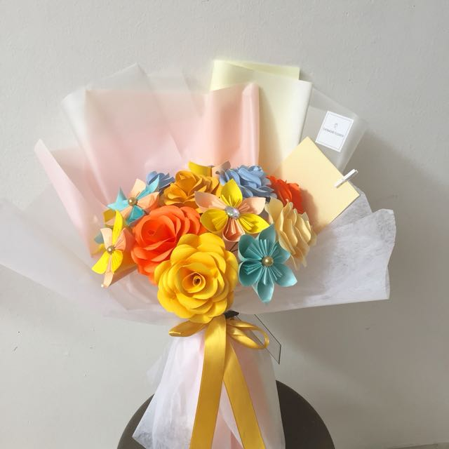 Handmade Origami Bouquet (yellow, orange & blue)