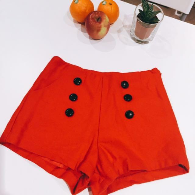 High Waist Pants Sharp Red