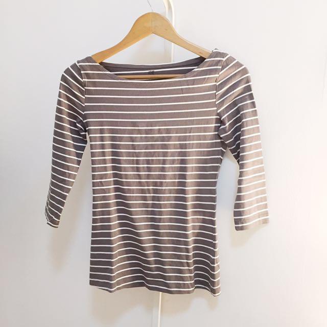 H&M Grey Stripes Top