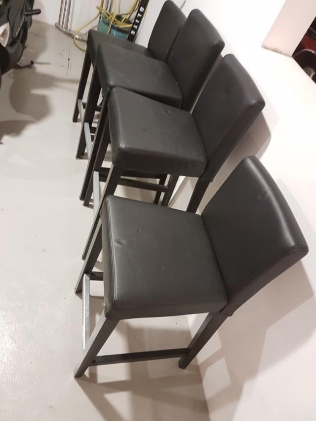 Tremendous Ikea Henriksdal Bar Stool With Back Rest Black Leather Machost Co Dining Chair Design Ideas Machostcouk