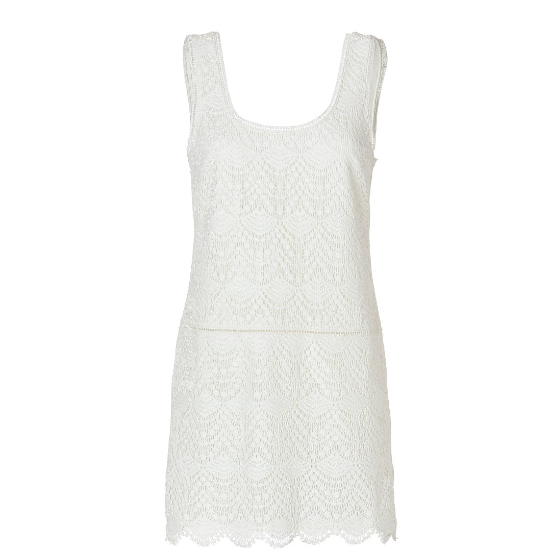 Juicy Couture Crochet Lace Tank Dress in Ivory