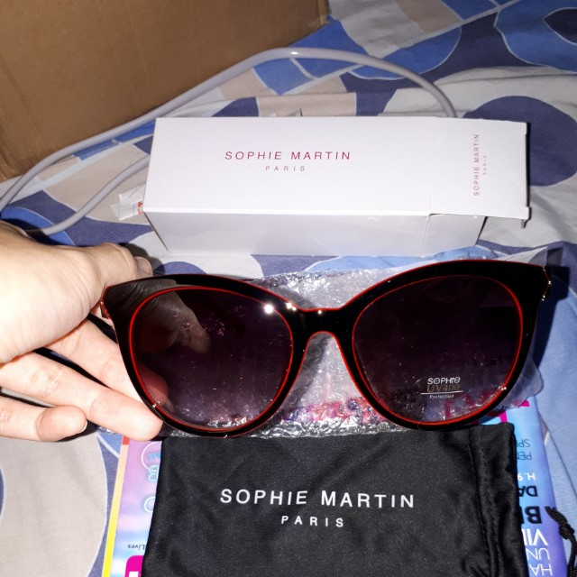 Reprice Kacamata lensa hitam Sophie Martin Paris gagang merah ... 0688f1701f