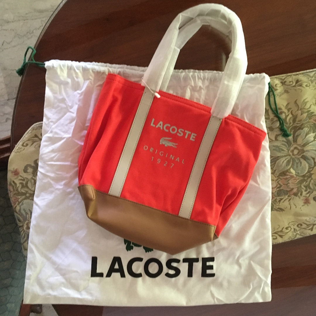 Lacoste - Fiery Red Light Gray Small Shopping Bag
