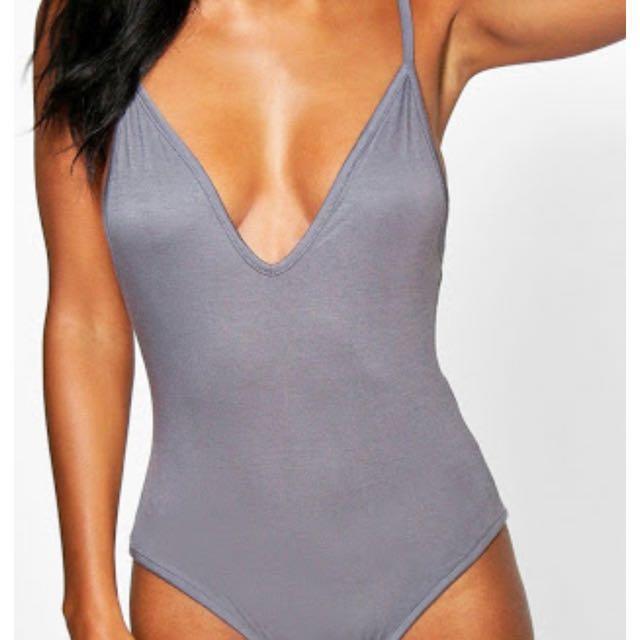 Leah Basic V Neck Strappy bodysuit