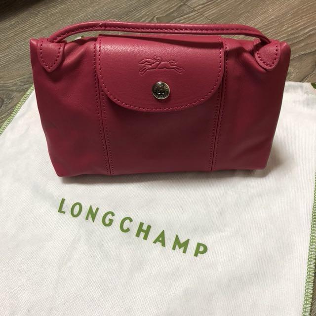 全新真品Longchamp 法國帶回小羊皮郵差包 桃紅色