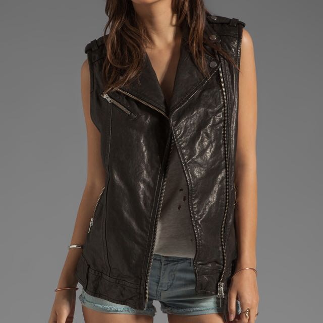 Mackage Frederica distressed vest jacket leather xs