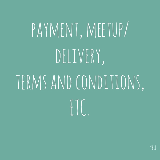 Meetup/Delivery, Payment, Terms and Conditions