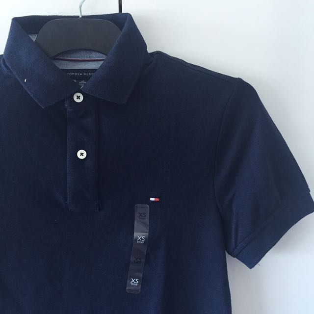Mens Tom m y Hilfiger Navy Polo