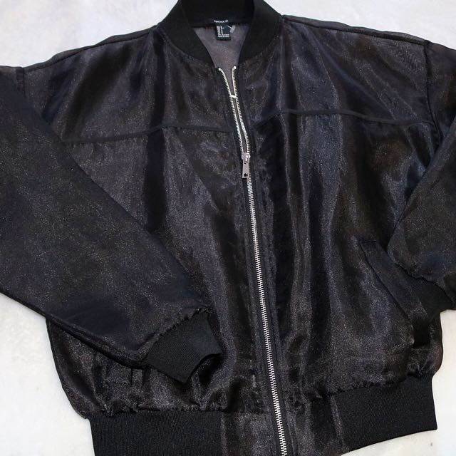 Mesh Black Bomber Jacket