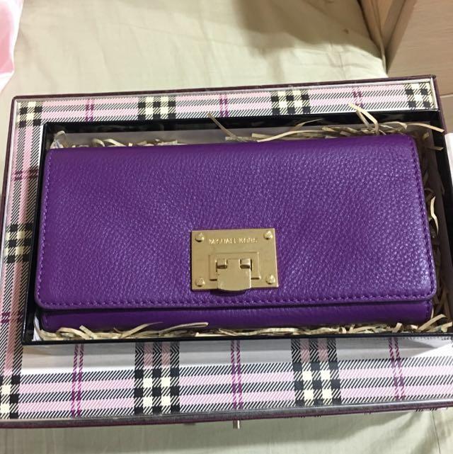 Michael Kors MK正品紫色真皮長夾