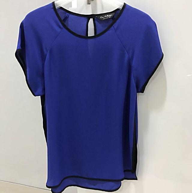 Miss Selfridge Blue Top With Black Lining