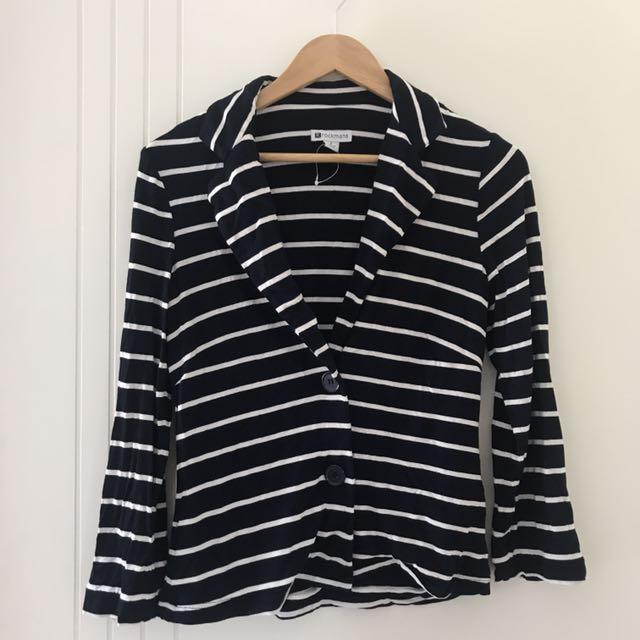 Navy And White Long Sleeve Blazer/ Jacket