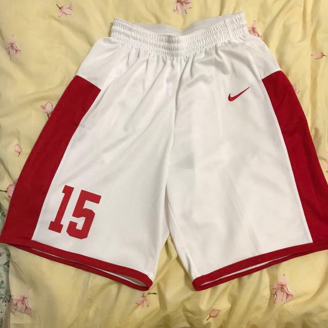 Nike燙字15號白紅球褲