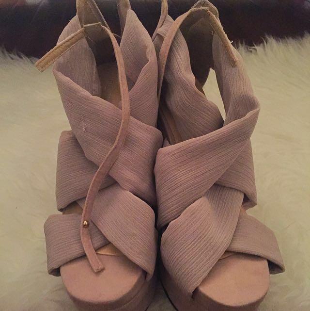 Nude Summer Wedge Sandal