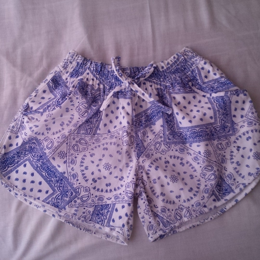 Paisley Shorts Blue and White