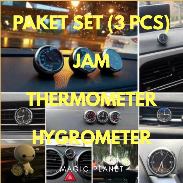 Paket Set Jam Thermometer Higrometer Aksesories Dashboard