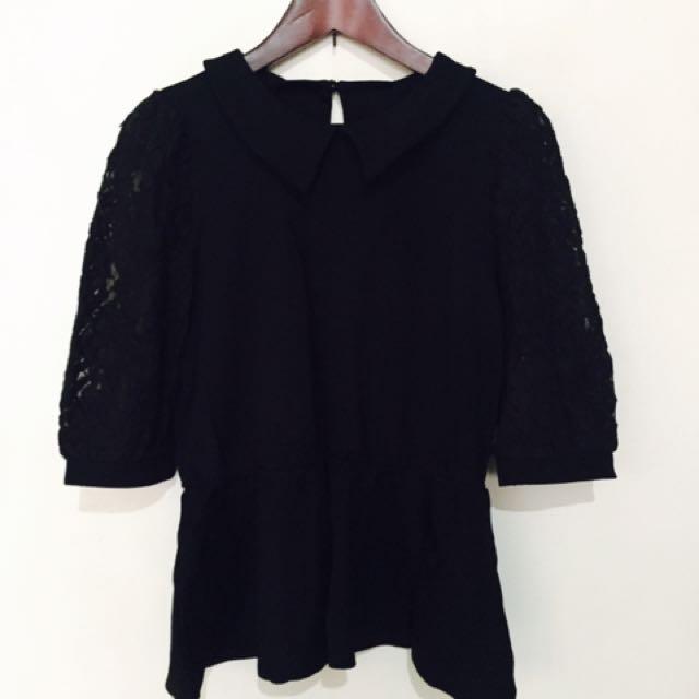 Pazzo 黑色縮腰袖子蕾絲五分袖上衣