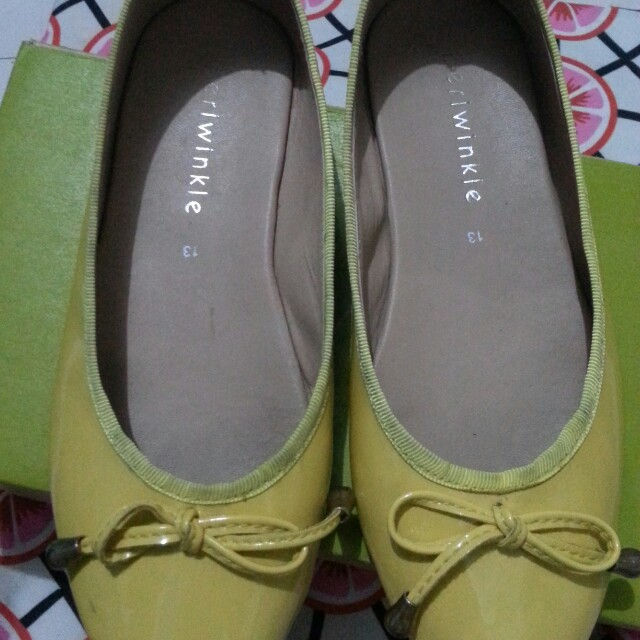 Periwinkle yellow flat shoes